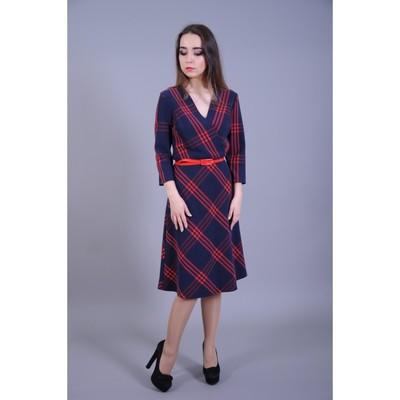 Платье женское, размер 50, цвет сине-красная клетка - Фото 1