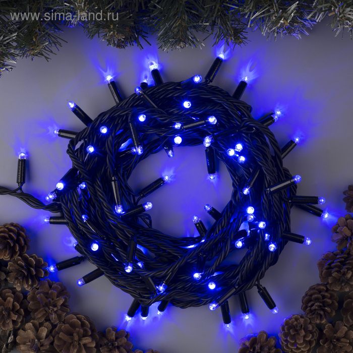 """Гирлянда """"Нить"""" уличная, УМС, 10 м, 3W LED(IP65-O)-100-220V, нить тёмная, свечение синее"""