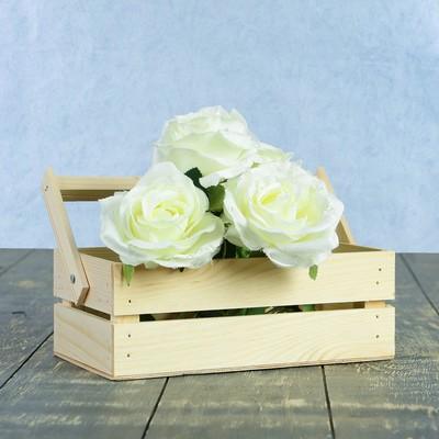 """Кашпо деревянное 24.5×13.5×9 см """"Двушка Лайт"""", двухреечное, натуральный Дарим Красиво"""