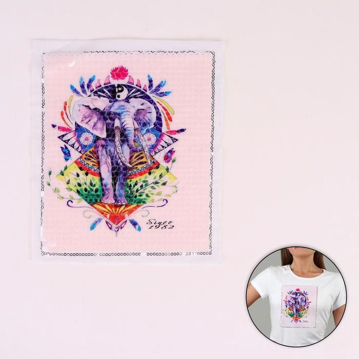 Аппликация из пайеток «Слон», 21,2 × 18,5 см