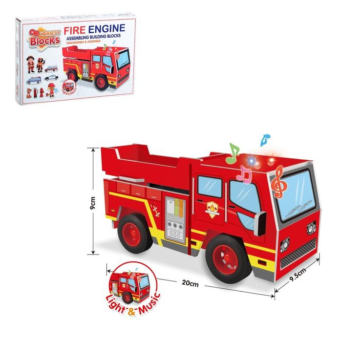 Конструктор мягкий из EVA «Пожарная машина», световые и звуковые эффекты, 47 деталей