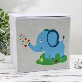 Короб для хранения с крышкой «Слонёнок», 25×25×25 см, цвет серый Ош