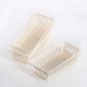 Набор корзин для хранения BranQ Light XS, 3 шт: 19,5×10×5 см, цвет слоновая кость Ош