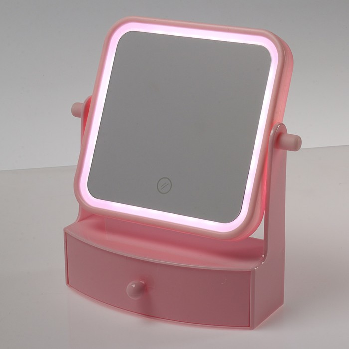 Зеркало LuazON KZ-05, подсветка, 22 × 20 × 9 см, 4хААА, квадратное, розовое