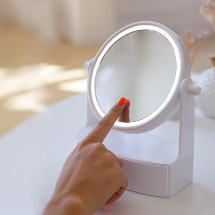 Зеркало LuazON KZ-05, подсветка, 19.5 × 21.5 × 9 см, 4хААА, круглое, белое