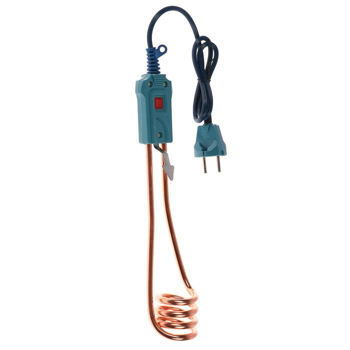 Электрокипятильник LuazON LEK 13, 1000 Вт, 220 В, спираль пружина, индикатор, синий