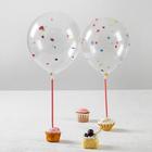 """Шары латексные 10"""", декоративные с конфетти, набор 2 шт., палочки, держатели"""