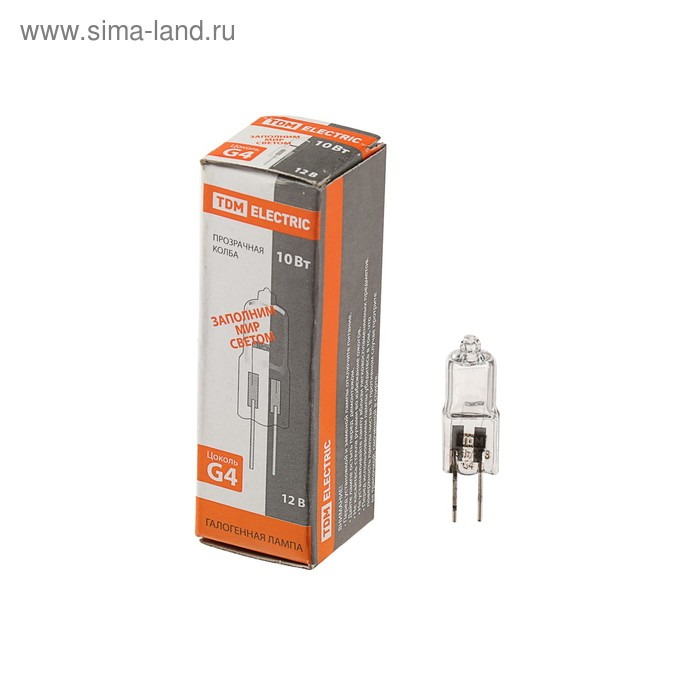 Лампа галогенная TDM JC, G4, 10 Вт, 12 В, прозрачная
