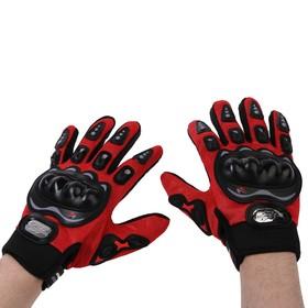 Перчатки для езды на мототехнике, с защитными вставками, пара, размер L, красный Ош
