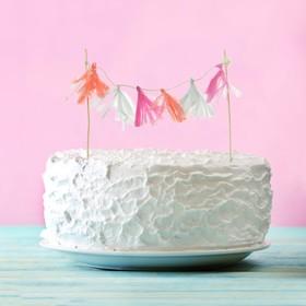 Украшения для торта «Нежность», тассел, цвета розовый, фуксия, белый