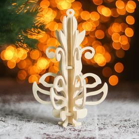Сборная деревянная модель «Снежинка 6», ёлочная игрушка