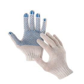 Перчатки, х/б, вязка 7 класс, 3 нити, размер 10, с ПВХ точками, белые