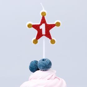 Свеча в торт цифра Дисней 1, Тачки, звезда, красно-золотые Ош
