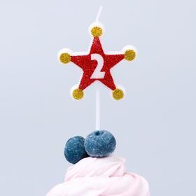 Свеча в торт цифра Дисней 2, Тачки, звезда,красно-золотые Ош