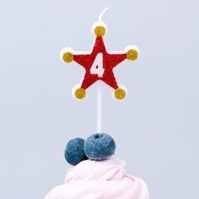 Свеча в торт цифра Дисней 4,Тачки, звезда,красно-золотые Ош