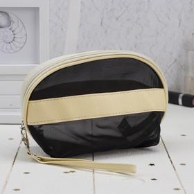 Косметичка-сумочка, отдел на молнии, с ручкой, цвет чёрный/бежевый Ош