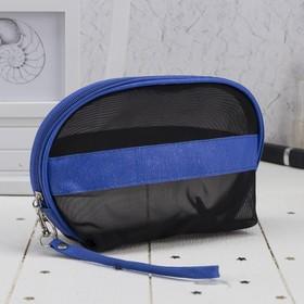 Косметичка-сумочка, отдел на молнии, с ручкой, цвет чёрный/синий Ош