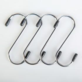 Набор крючков для рейлинга Доляна, d=2,5 см, 8 см, 4 шт, цвет хром Ош