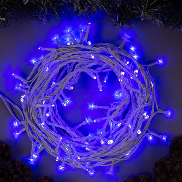 Гирлянда Нить 10 м , IP44, белая нить, 100 LED, свечение синее, 8 режимов, 220 В