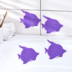 Набор мини-ковриков для ванны «Рыбки», 10×12 см, 4 шт, цвет МИКС Ош