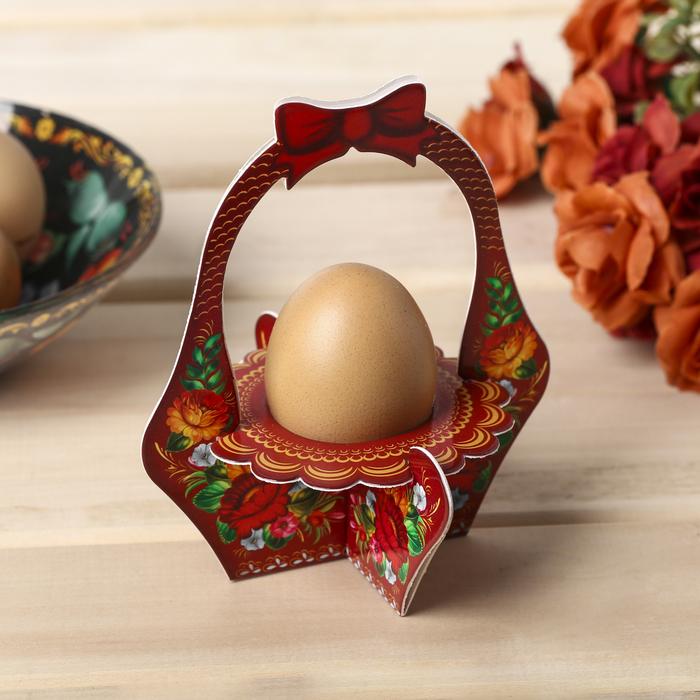Подставка пасхальная на 1 яйцо Цветы корзинка