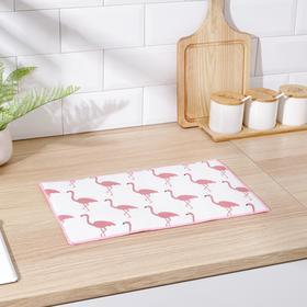 Коврик для сушки посуды 25×40 см 'Фламинго', лён Ош