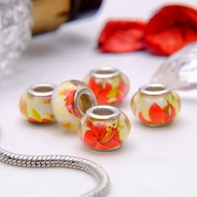 """Бусина """"Цветы"""" лилии, цвет красно-желтый в серебре"""