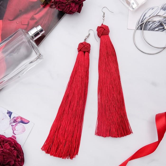 Серьги Кисти романс, цвет бордовый в серебре, длина кисти 16 см