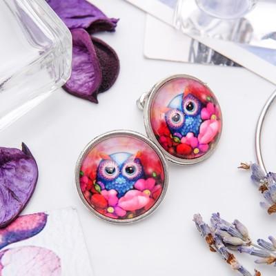 Серьги из стекла Candy сова с цветами, цветные
