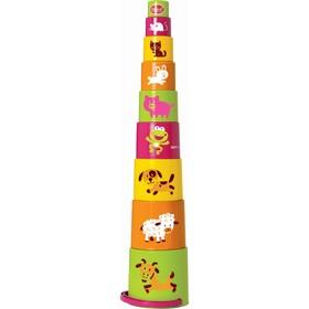 Развивающая игрушка ведерко-пирамидка «Звери», 9 предметов