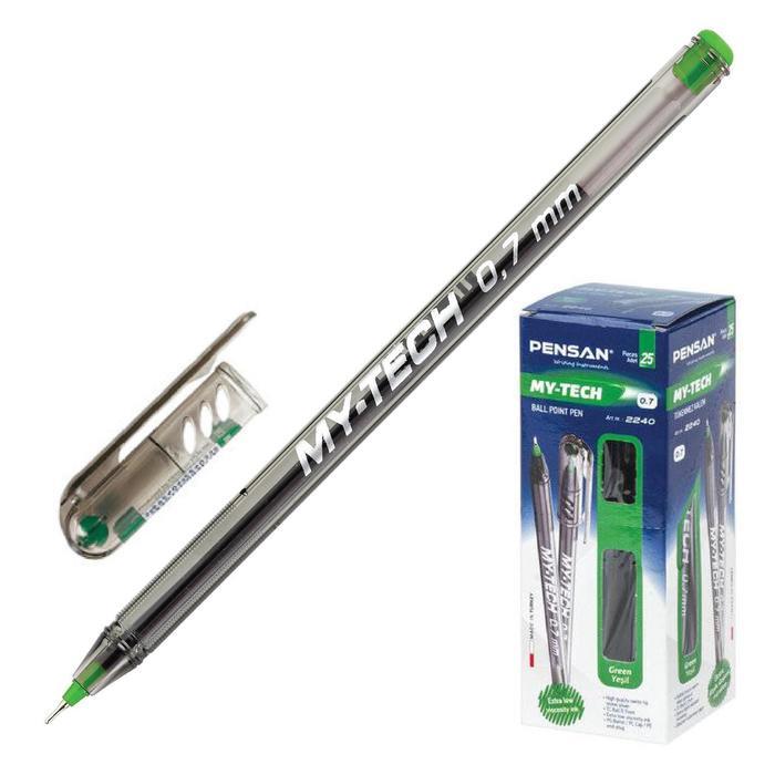 Ручка шариковая Pensan My-Tech 2240, узел-игла 0.7 мм, зелёные чернила