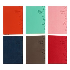 Ежедневник недатированный, формат А6, 100 листов в линейку, обложка ПВХ, МИКС Ош