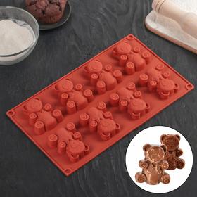 Форма для выпечки Доляна «Животные. Мишка», 29×17×1,5 см, 8 ячеек