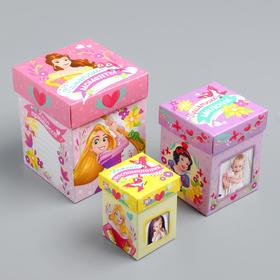 Памятные коробочки для новорожденных, Принцессы, 3 шт, с местом под фото Ош