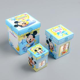 Памятные коробочки для новорожденных, Микки Маус, 3 шт, с местом под фото Ош