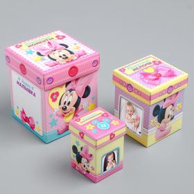 Памятные коробочки для новорожденных, Минни Маус, 3 шт, с местом под фото Ош