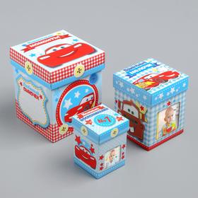 Памятные коробочки для новорожденных, Тачки, 3 шт, с местом под фото Ош
