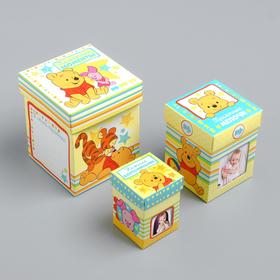 Памятные коробочки для новорожденных, Медвежонок Винни и его друзья, 3 шт, с местом под фото Ош