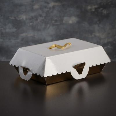 Коробка для пирожных, BON BON, премиум, золотое основание, 23 x 14,5 x 10 см