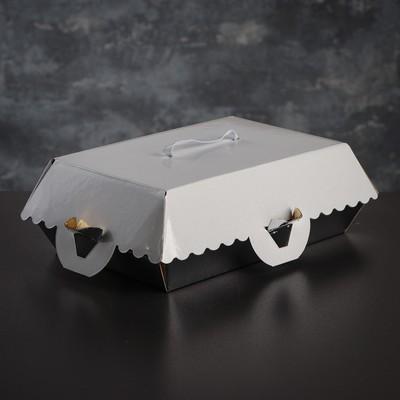 Коробка для пирожных, BON BON, премиум, серебряное основание, 23 x 14,5 x 10 см