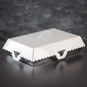 Упаковка для пирожных, BON BON, премиум, серебряное основание, 32 x 22 x 10 см