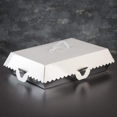 Коробка для пирожных, BON BON, премиум, серебряное основание, 32 x 22 x 10 см