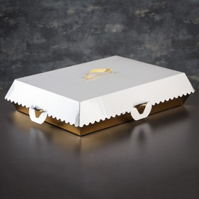 Упаковка для пирожных, BON BON, премиум, золотое основание, 38,5 x 28 x 10 см