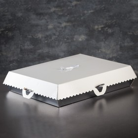 Упаковка для пирожных, BON BON, премиум, серебряное основание, 38,5 x 28 x 10 см
