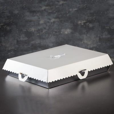 Коробка для пирожных, BON BON, премиум, серебряное основание, 38,5 x 28 x 10 см
