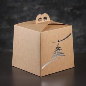 Упаковка для торта, премиум, NEW YEAR, крафт с серебром, 20,4 х 20,4 х 19 см Ош