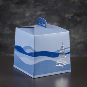 Упаковка для торта, премиум, BLUE WINTER, 20,4 х 20,4 х 19 см Ош