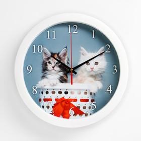 Часы настенные круглые 'Котята', 28х28 см Ош