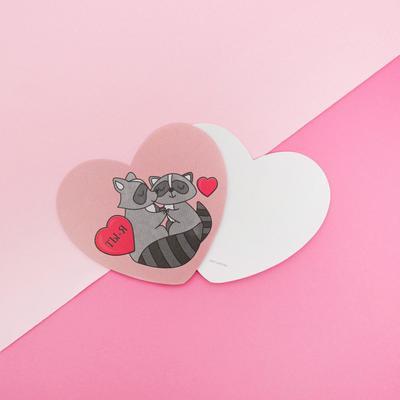 Открытка‒валентинка «Люблю Тебя», еноты, 7.1 x 6.1 см - Фото 1