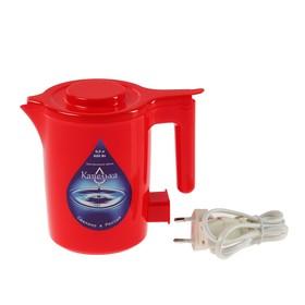 Чайник электрический 'Капелька', 600 Вт, 0.5 л, пластик, красный Ош